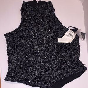 New ADRIANNA Papell Black sequence Beaded Corp Top